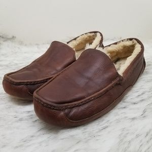 UGG Australia brown leather outdoor slippers